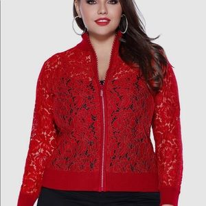 Bright red lace jacket